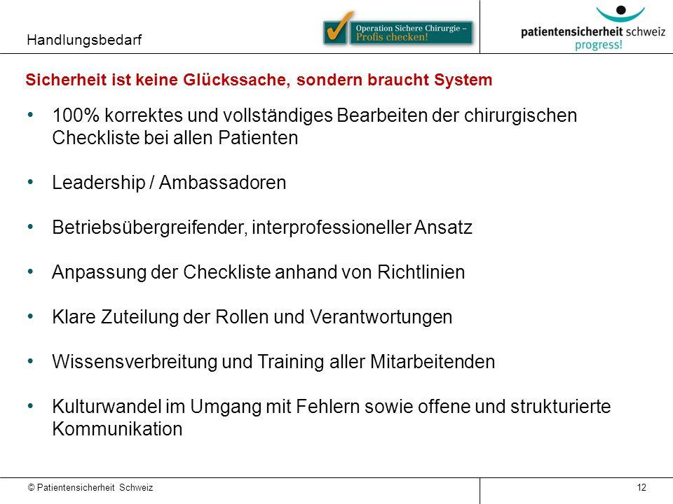 © Patientensicherheit Schweiz Handlungsbedarf 100% korrektes und vollständiges Bearbeiten der chirurgischen Checkliste bei allen Patienten Leadership
