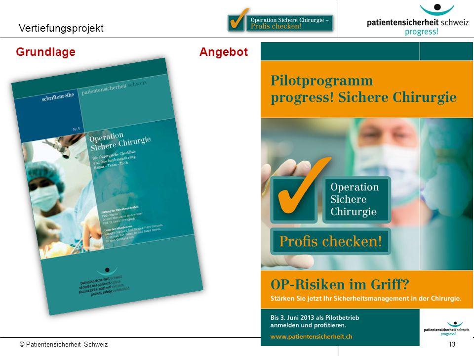 © Patientensicherheit Schweiz Vertiefungsprojekt 13 Grundlage Angebot