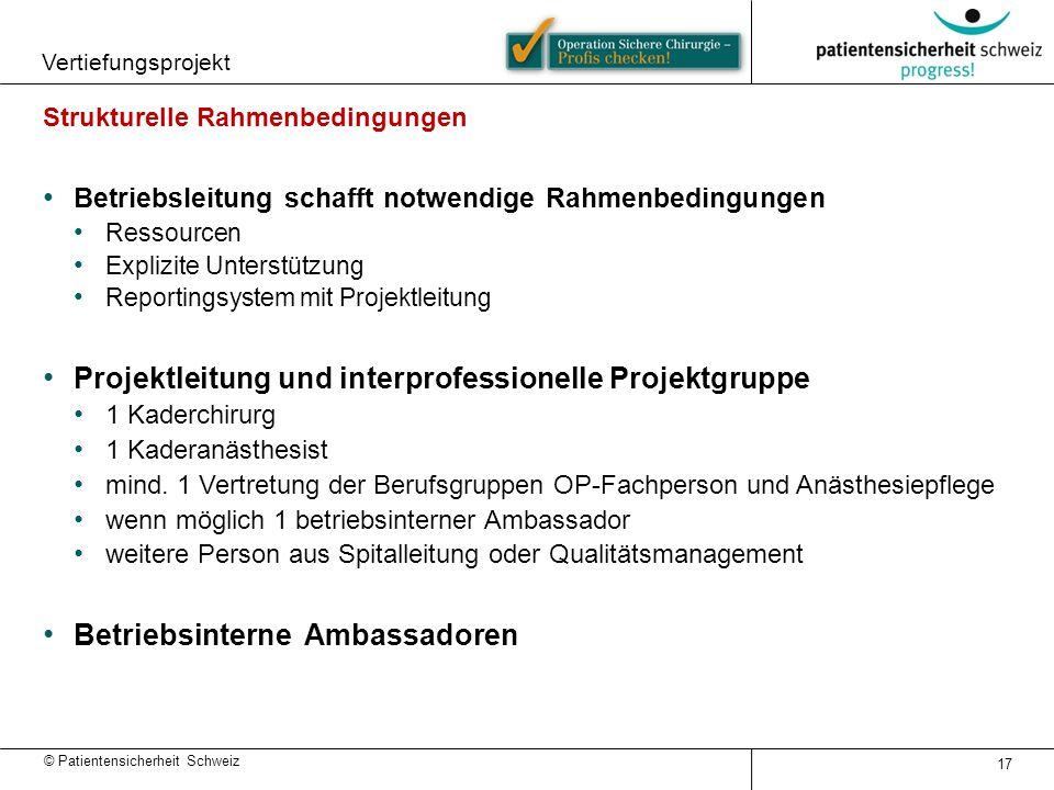 © Patientensicherheit Schweiz Vertiefungsprojekt 17 Strukturelle Rahmenbedingungen Betriebsleitung schafft notwendige Rahmenbedingungen Ressourcen Exp