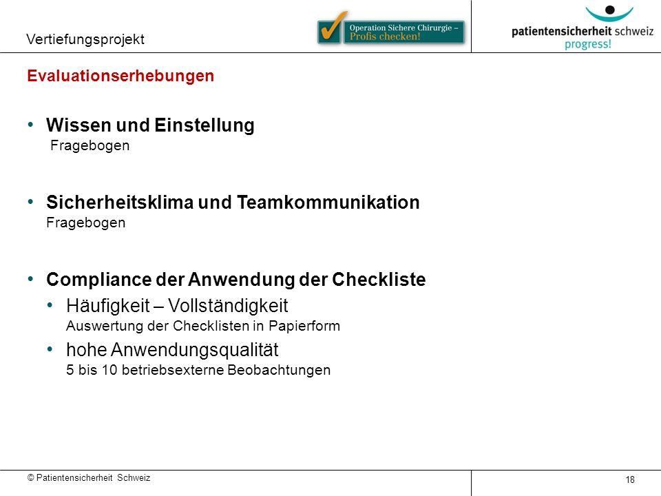 © Patientensicherheit Schweiz Vertiefungsprojekt 18 Evaluationserhebungen Wissen und Einstellung Fragebogen Sicherheitsklima und Teamkommunikation Fra
