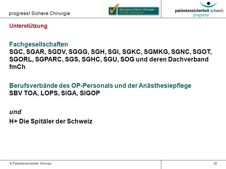 © Patientensicherheit Schweiz progress! Sichere Chirurgie 20 Unterstützung Fachgesellschaften SGC, SGAR, SGDV, SGGG, SGH, SGI, SGKC, SGMKG, SGNC, SGOT