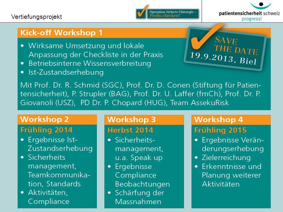 © Patientensicherheit Schweiz Vertiefungsprojekt 22 Überblick über die 4 Workskhops