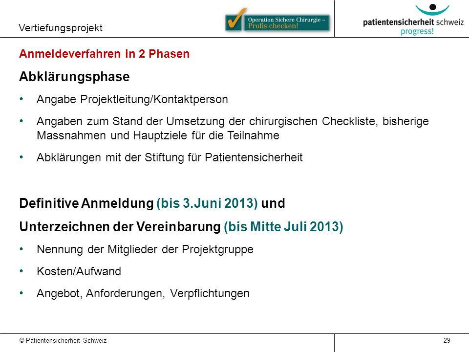 © Patientensicherheit Schweiz Vertiefungsprojekt Anmeldeverfahren in 2 Phasen Abklärungsphase Angabe Projektleitung/Kontaktperson Angaben zum Stand de