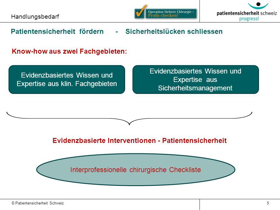 © Patientensicherheit Schweiz Evidenzbasiertes Wissen und Expertise aus Sicherheitsmanagement Evidenzbasiertes Wissen und Expertise aus klin. Fachgebi