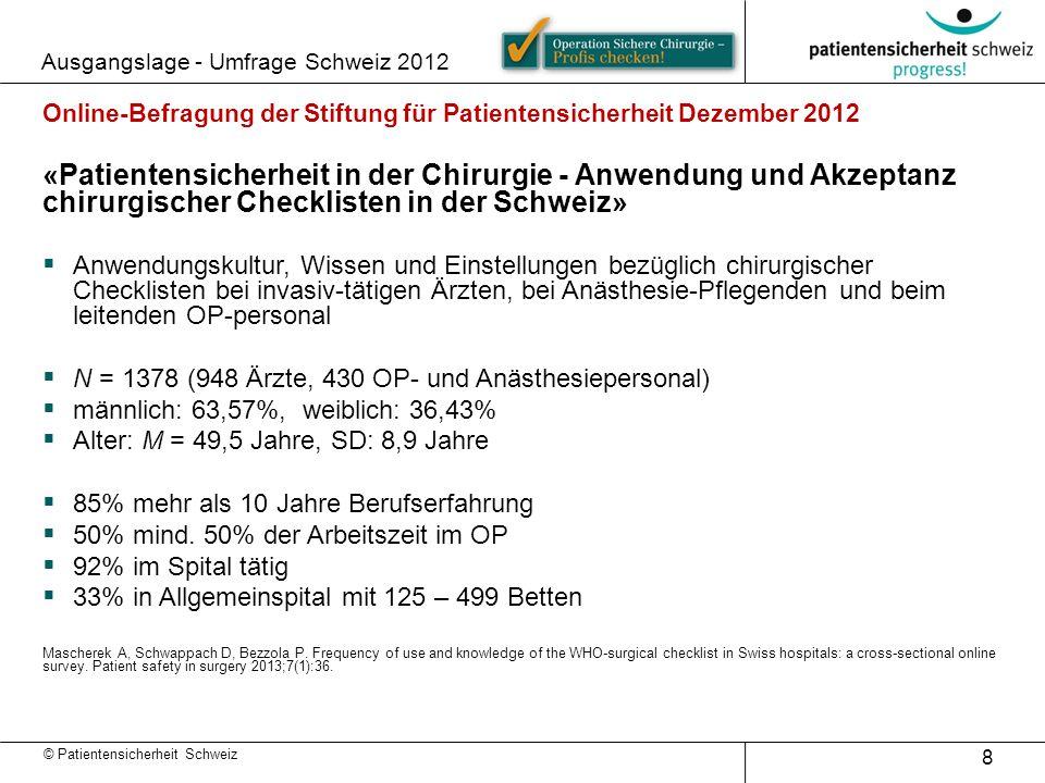 © Patientensicherheit Schweiz Ausgangslage - Umfrage Schweiz 2012 8 Online-Befragung der Stiftung für Patientensicherheit Dezember 2012 «Patientensich