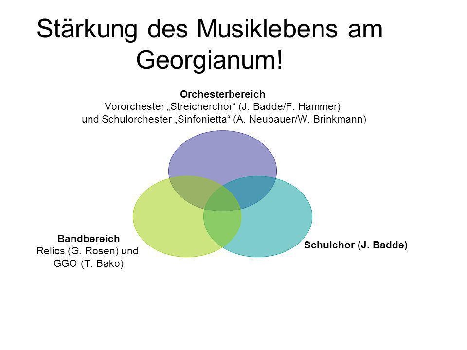 """Stärkung des Musiklebens am Georgianum! Orchesterbereich Vororchester """"Streicherchor"""" (J. Badde/F. Hammer) und Schulorchester """"Sinfonietta"""" (A. Neubau"""
