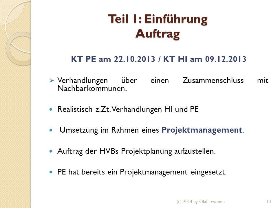 Teil 1: Einführung Auftrag KT PE am 22.10.2013 / KT HI am 09.12.2013  Verhandlungen über einen Zusammenschluss mit Nachbarkommunen.