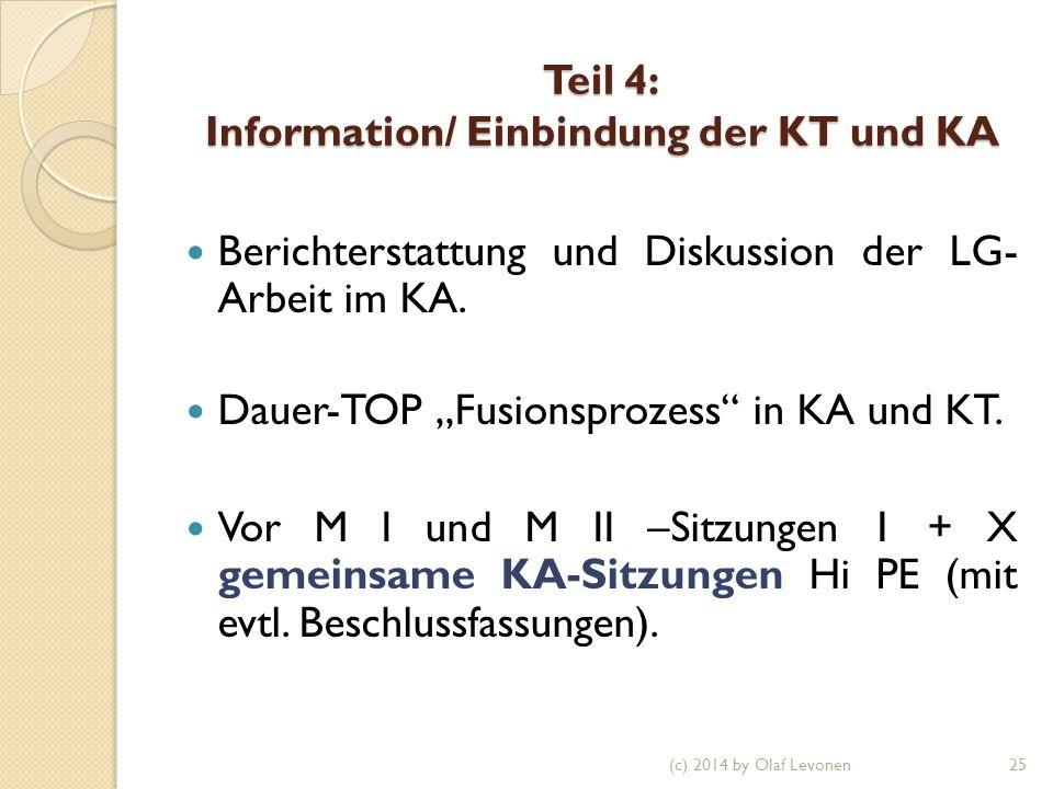 """Teil 4: Information/ Einbindung der KT und KA Berichterstattung und Diskussion der LG- Arbeit im KA. Dauer-TOP """"Fusionsprozess"""" in KA und KT. Vor M I"""
