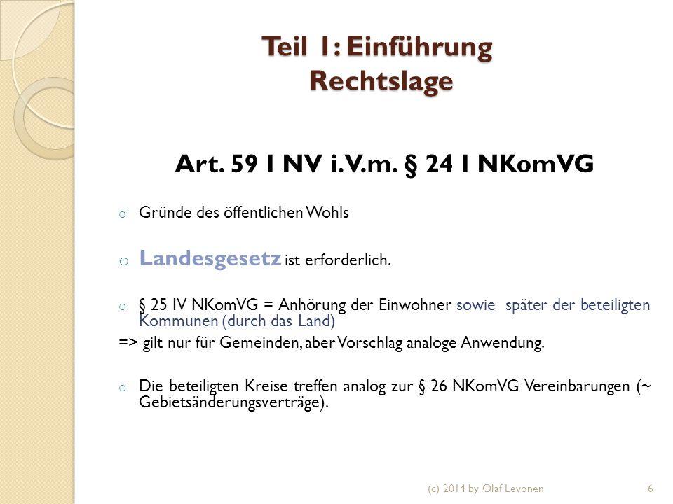 Teil 1: Einführung Rechtslage Art. 59 I NV i.V.m.