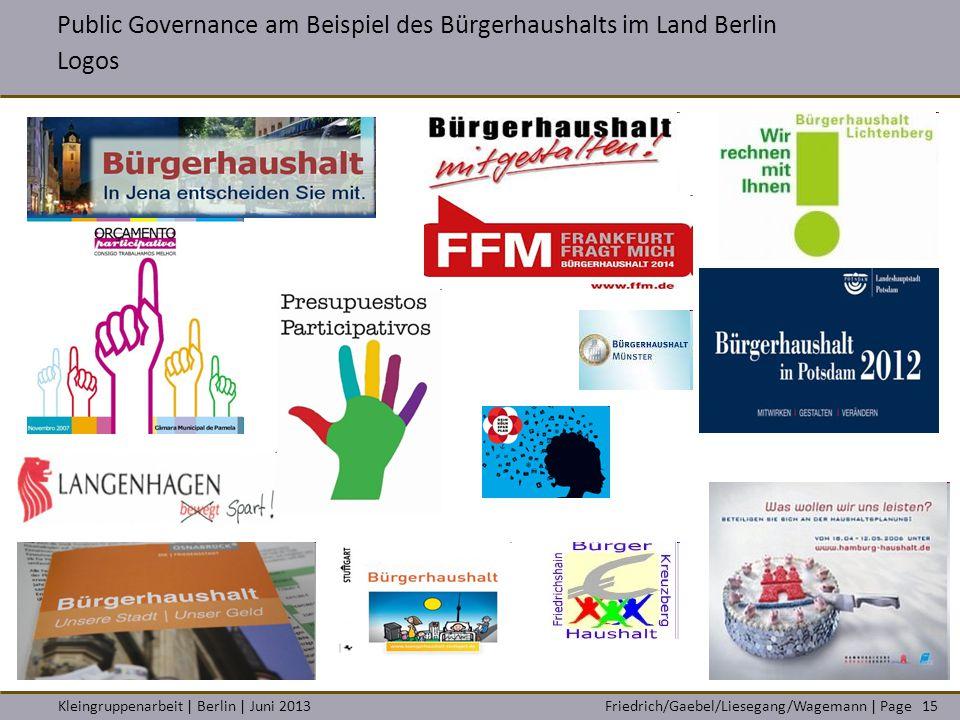 Friedrich/Gaebel/Liesegang/Wagemann | PageKleingruppenarbeit | Berlin | Juni 201315 Public Governance am Beispiel des Bürgerhaushalts im Land Berlin L