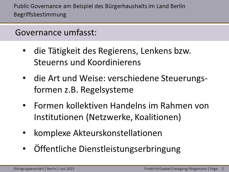 Friedrich/Gaebel/Liesegang/Wagemann | PageKleingruppenarbeit | Berlin | Juni 2013 Governance umfasst: Public Governance am Beispiel des Bürgerhaushalt