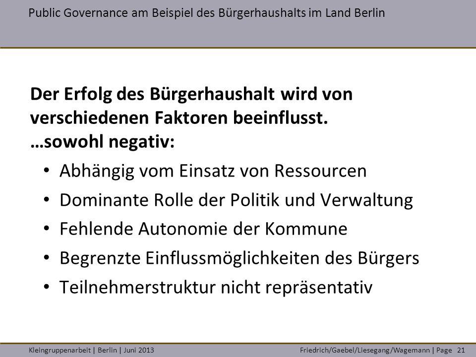 Friedrich/Gaebel/Liesegang/Wagemann | PageKleingruppenarbeit | Berlin | Juni 2013 Public Governance am Beispiel des Bürgerhaushalts im Land Berlin 21