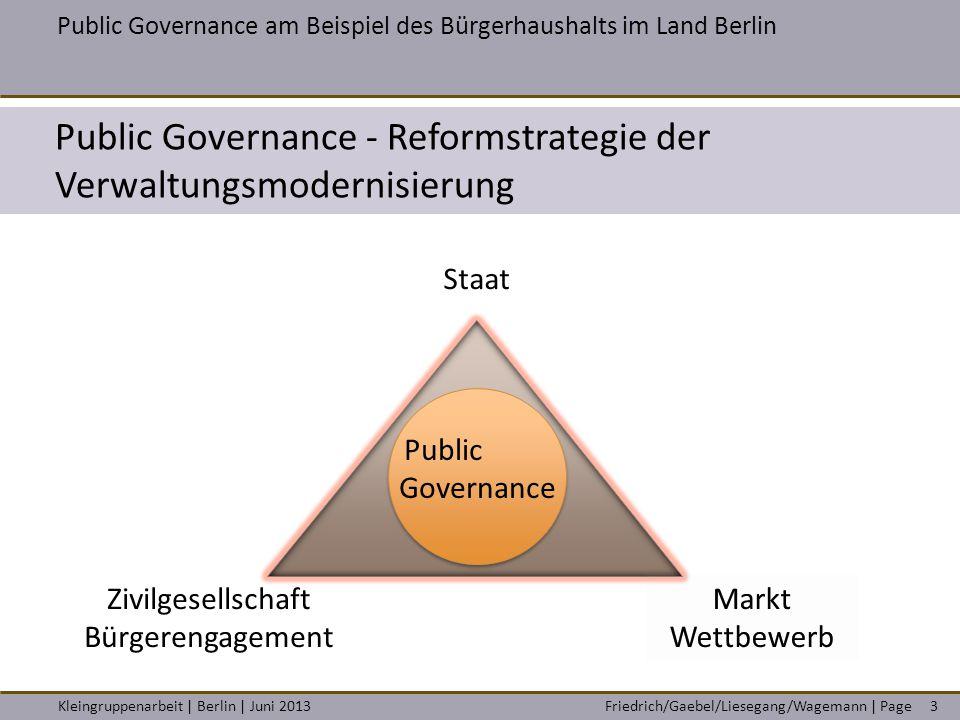 Friedrich/Gaebel/Liesegang/Wagemann | PageKleingruppenarbeit | Berlin | Juni 20133 Public Governance am Beispiel des Bürgerhaushalts im Land Berlin Pu