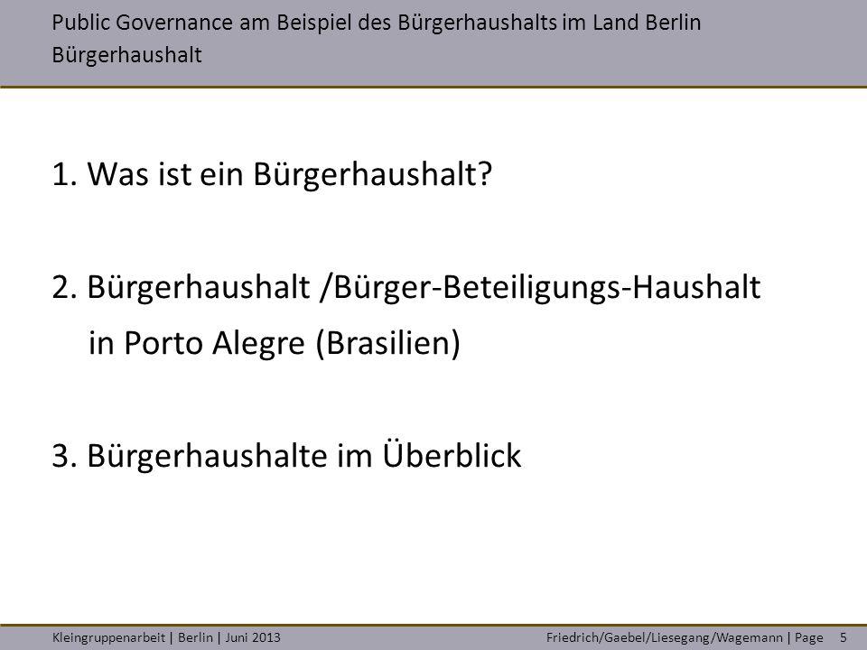 Friedrich/Gaebel/Liesegang/Wagemann | PageKleingruppenarbeit | Berlin | Juni 20135 1. Was ist ein Bürgerhaushalt? 2. Bürgerhaushalt /Bürger-Beteiligun