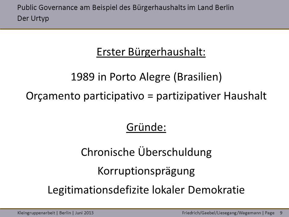 Friedrich/Gaebel/Liesegang/Wagemann | PageKleingruppenarbeit | Berlin | Juni 20139 Erster Bürgerhaushalt: 1989 in Porto Alegre (Brasilien) Orçamento p