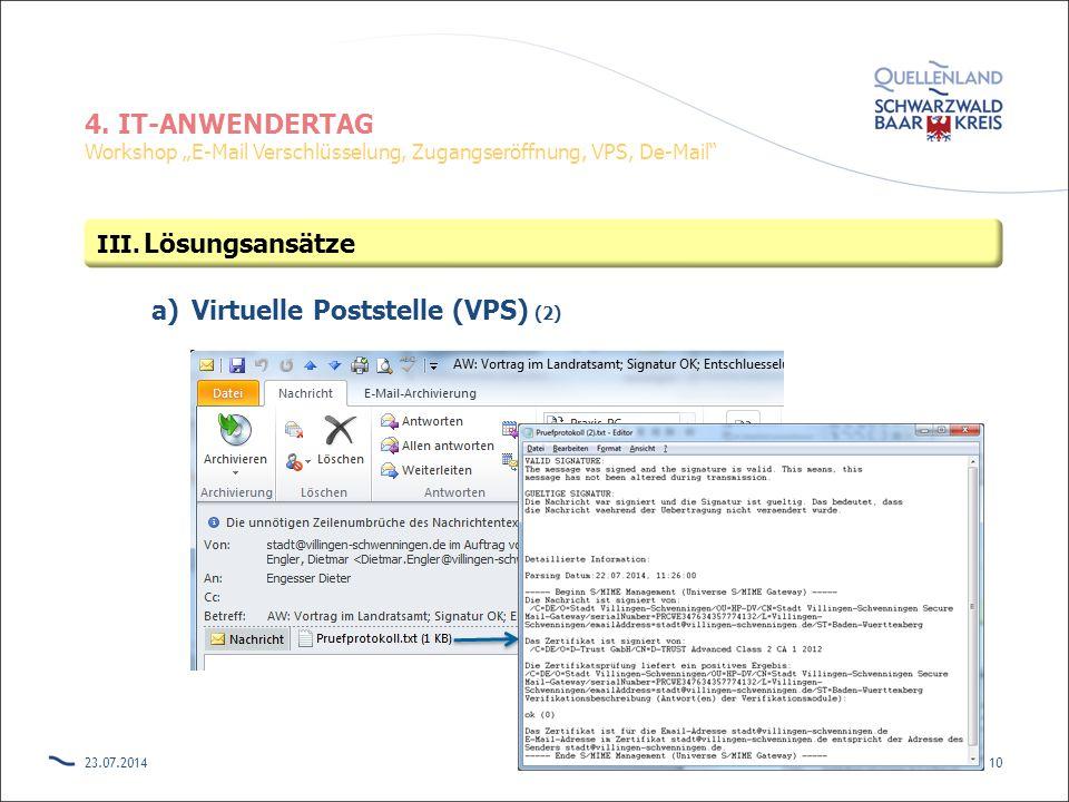 "4. IT-ANWENDERTAG Workshop ""E-Mail Verschlüsselung, Zugangseröffnung, VPS, De-Mail"" a)Virtuelle Poststelle (VPS) (2) 23.07.201410 III. Lösungsansätze"
