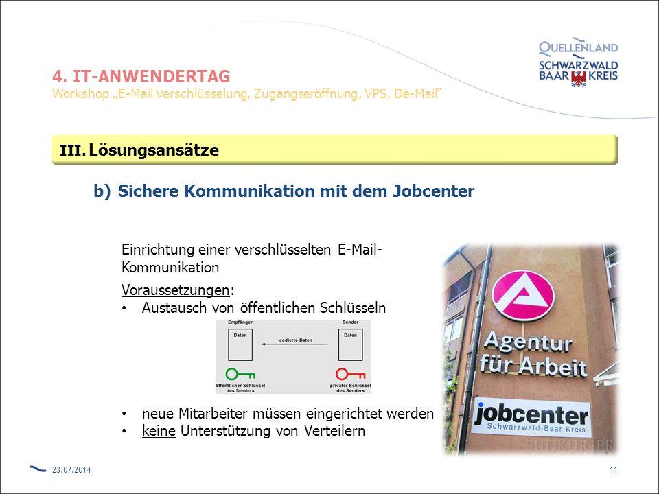 """4. IT-ANWENDERTAG Workshop """"E-Mail Verschlüsselung, Zugangseröffnung, VPS, De-Mail"""" b)Sichere Kommunikation mit dem Jobcenter 23.07.201411 III. Lösung"""