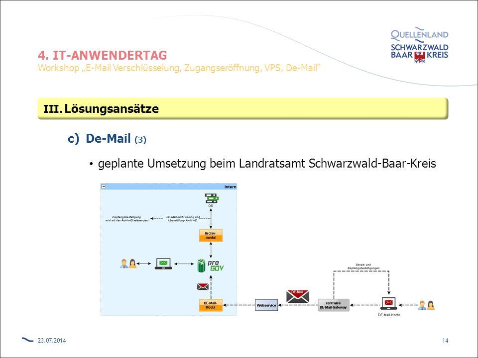 """4. IT-ANWENDERTAG Workshop """"E-Mail Verschlüsselung, Zugangseröffnung, VPS, De-Mail"""" c)De-Mail (3) geplante Umsetzung beim Landratsamt Schwarzwald-Baar"""