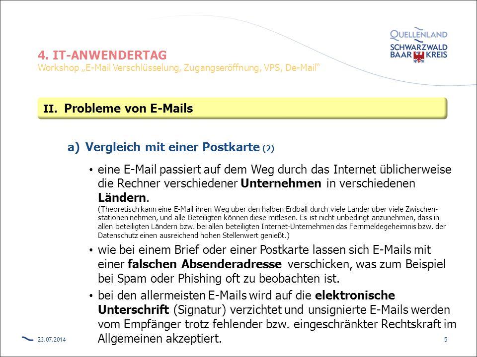"""4. IT-ANWENDERTAG Workshop """"E-Mail Verschlüsselung, Zugangseröffnung, VPS, De-Mail"""" a)Vergleich mit einer Postkarte (2) eine E-Mail passiert auf dem W"""