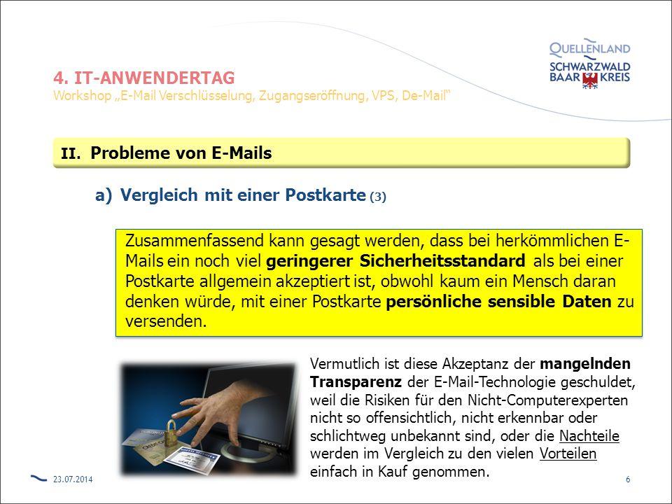 """4. IT-ANWENDERTAG Workshop """"E-Mail Verschlüsselung, Zugangseröffnung, VPS, De-Mail"""" a)Vergleich mit einer Postkarte (3) Zusammenfassend kann gesagt we"""