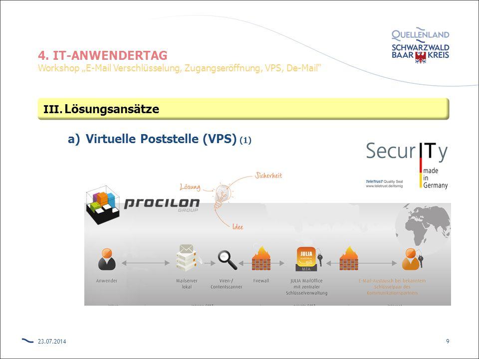 "4. IT-ANWENDERTAG Workshop ""E-Mail Verschlüsselung, Zugangseröffnung, VPS, De-Mail"" a)Virtuelle Poststelle (VPS) (1) 23.07.20149 III. Lösungsansätze"