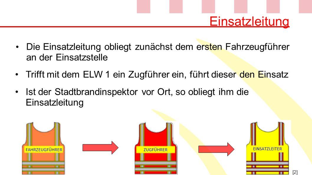 Einsatzleitung Die Einsatzleitung obliegt zunächst dem ersten Fahrzeugführer an der Einsatzstelle [2] Ist der Stadtbrandinspektor vor Ort, so obliegt