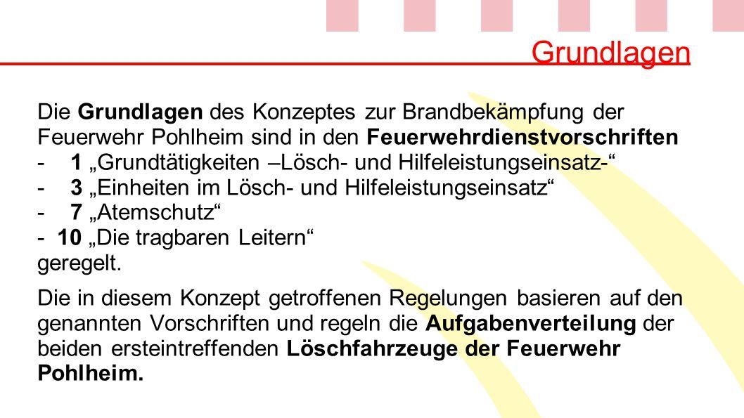 """Grundlagen Die Grundlagen des Konzeptes zur Brandbekämpfung der Feuerwehr Pohlheim sind in den Feuerwehrdienstvorschriften -1 """"Grundtätigkeiten –Lösch"""