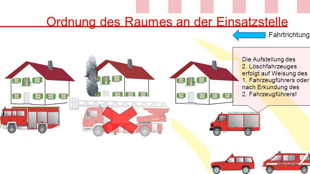 Ordnung des Raumes an der Einsatzstelle Die Aufstellung des 2. Löschfahrzeuges erfolgt auf Weisung des 1. Fahrzeugführers oder nach Erkundung des 2. F