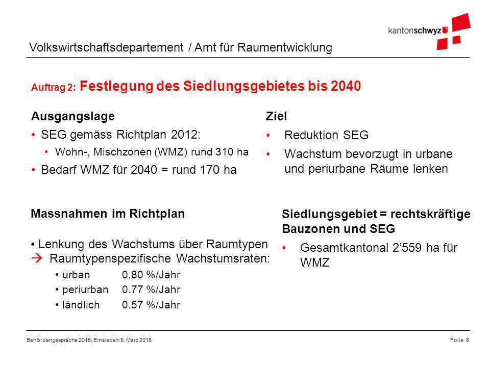 Volkswirtschaftsdepartement / Amt für Raumentwicklung Auftrag 2: Festlegung des Siedlungsgebietes bis 2040 Behördengespräche 2015, Einsiedeln 5.