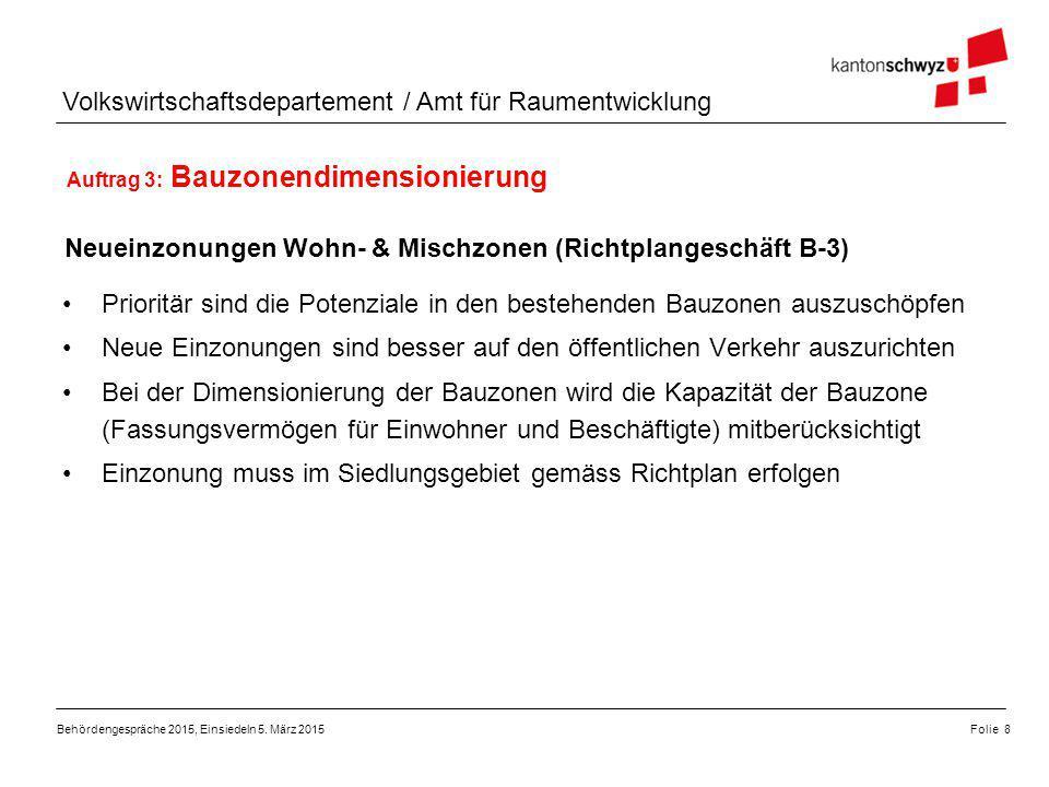 Volkswirtschaftsdepartement / Amt für Raumentwicklung Auftrag 3: Bauzonendimensionierung Siedlungsverdichtung und Siedlungsqualität (Richtplangeschäft B-4) Behördengespräche 2015, Einsiedeln 5.