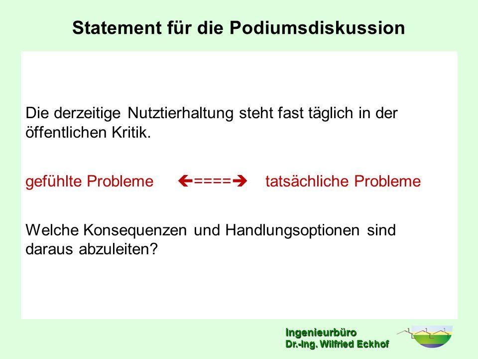 Ingenieurbüro Dr.-Ing. Wilfried Eckhof Statement für die Podiumsdiskussion Die derzeitige Nutztierhaltung steht fast täglich in der öffentlichen Kriti