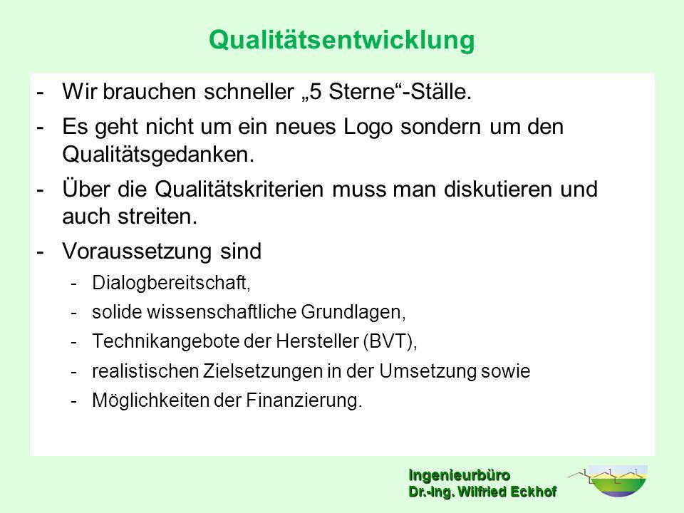 """Ingenieurbüro Qualitätsentwicklung -Wir brauchen schneller """"5 Sterne""""-Ställe. -Es geht nicht um ein neues Logo sondern um den Qualitätsgedanken. -Über"""