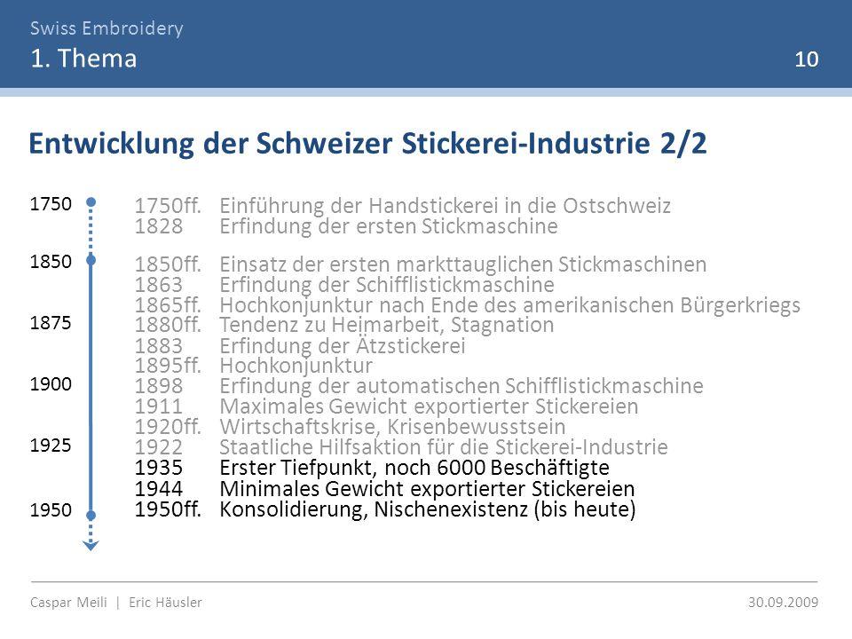 Swiss Embroidery 1. Thema Entwicklung der Schweizer Stickerei-Industrie 2/2 10 1750 1850 1950 1750ff.Einführung der Handstickerei in die Ostschweiz 18