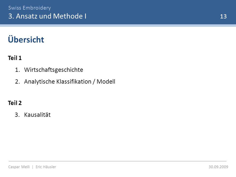 Swiss Embroidery 3. Ansatz und Methode I Caspar Meili | Eric Häusler 30.09.2009 13 Übersicht Teil 1 1.Wirtschaftsgeschichte 2.Analytische Klassifikati