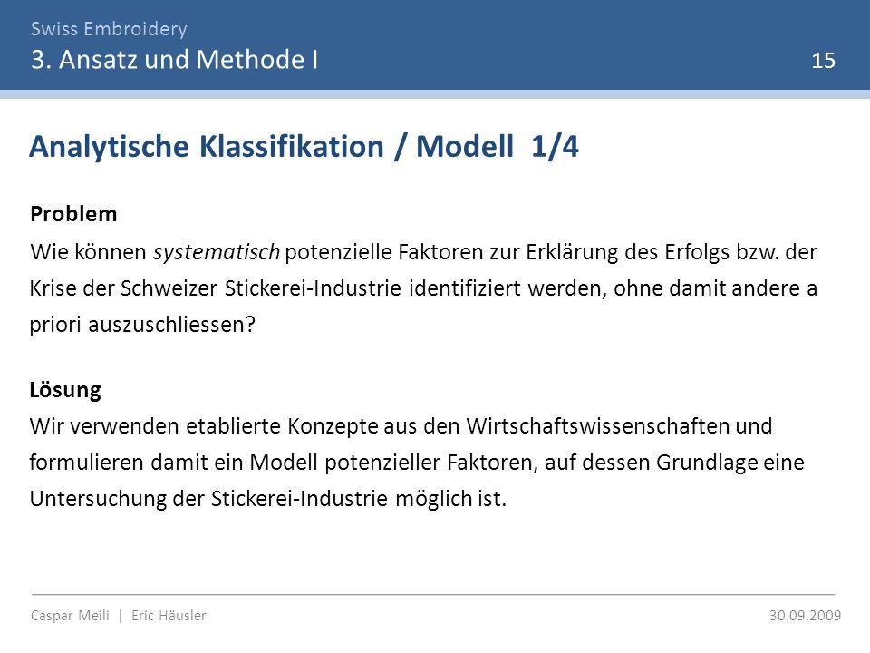 Swiss Embroidery 3. Ansatz und Methode I Caspar Meili | Eric Häusler 30.09.2009 15 Analytische Klassifikation / Modell 1/4 Problem Wie können systemat