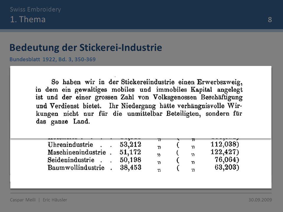 Swiss Embroidery 1. Thema Bedeutung der Stickerei-Industrie Bundesblatt 1922, Bd.