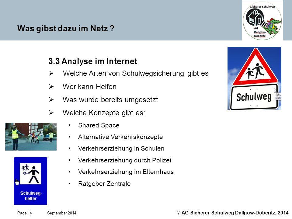 © AG Sicherer Schulweg Dallgow-Döberitz, 2014 Page 14 September 2014 Was gibst dazu im Netz ? 3.3 Analyse im Internet  Welche Arten von Schulwegsiche