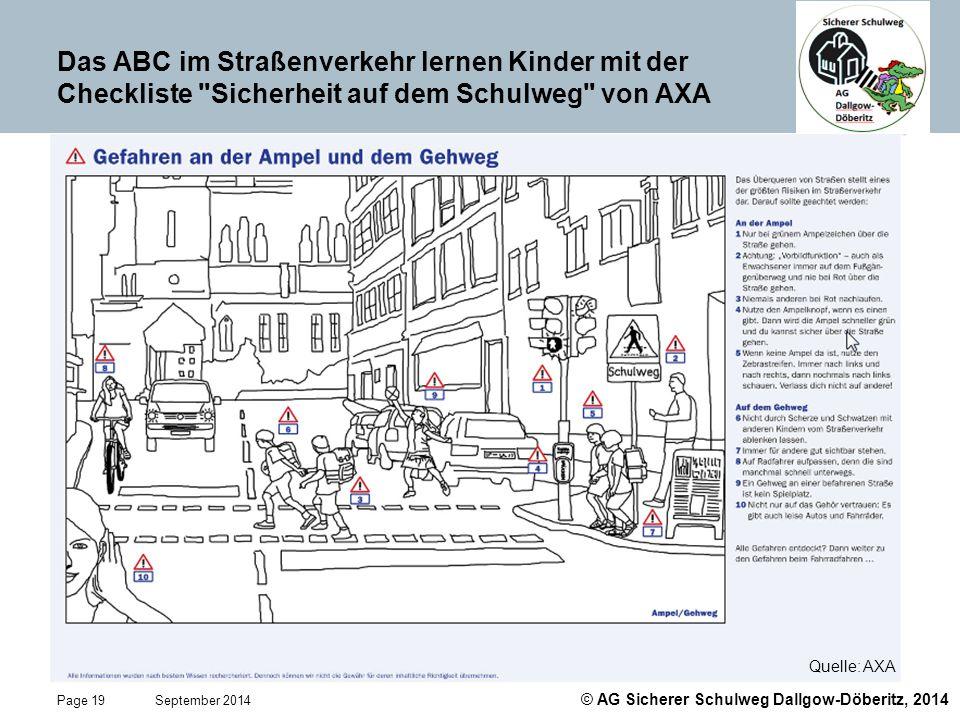 © AG Sicherer Schulweg Dallgow-Döberitz, 2014 Page 19 September 2014 Das ABC im Straßenverkehr lernen Kinder mit der Checkliste