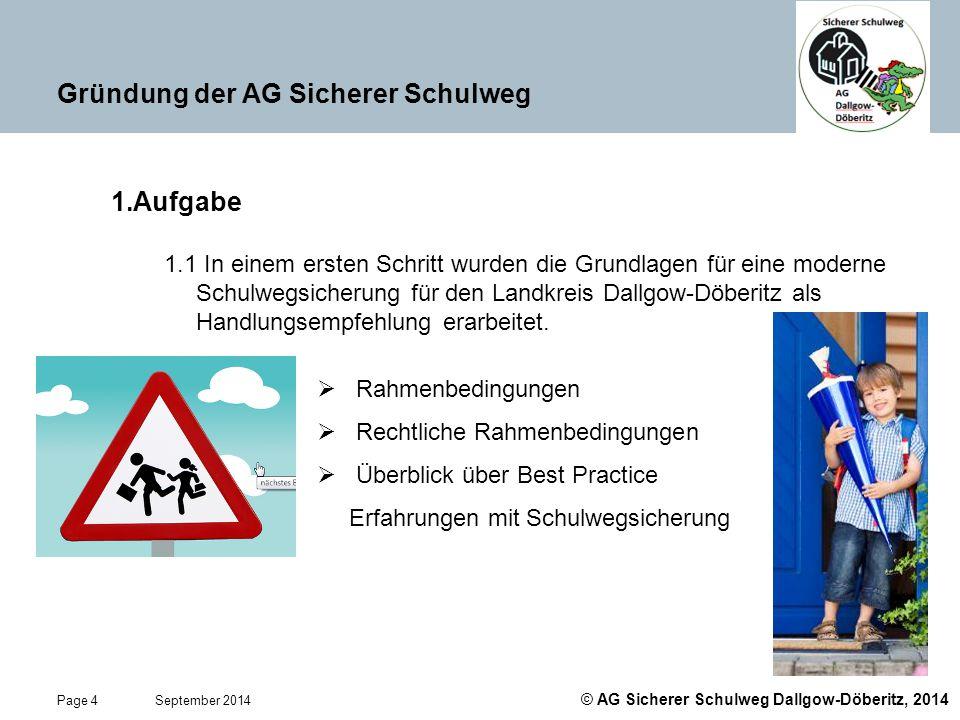 © AG Sicherer Schulweg Dallgow-Döberitz, 2014 Page 4 September 2014 Gründung der AG Sicherer Schulweg 1.Aufgabe 1.1 In einem ersten Schritt wurden die