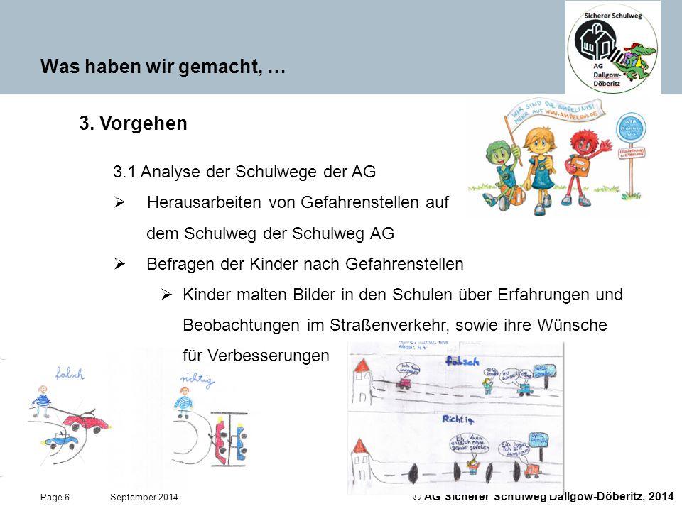 © AG Sicherer Schulweg Dallgow-Döberitz, 2014 Page 6 September 2014 Was haben wir gemacht, … 3. Vorgehen 3.1 Analyse der Schulwege der AG  Herausarbe