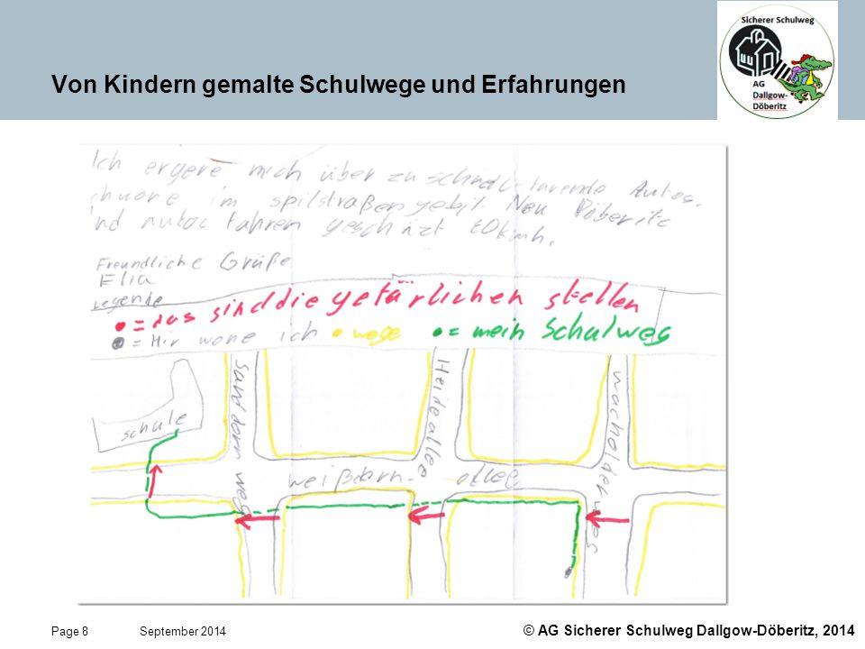 © AG Sicherer Schulweg Dallgow-Döberitz, 2014 Page 19 September 2014 Das ABC im Straßenverkehr lernen Kinder mit der Checkliste Sicherheit auf dem Schulweg von AXA Quelle: AXA