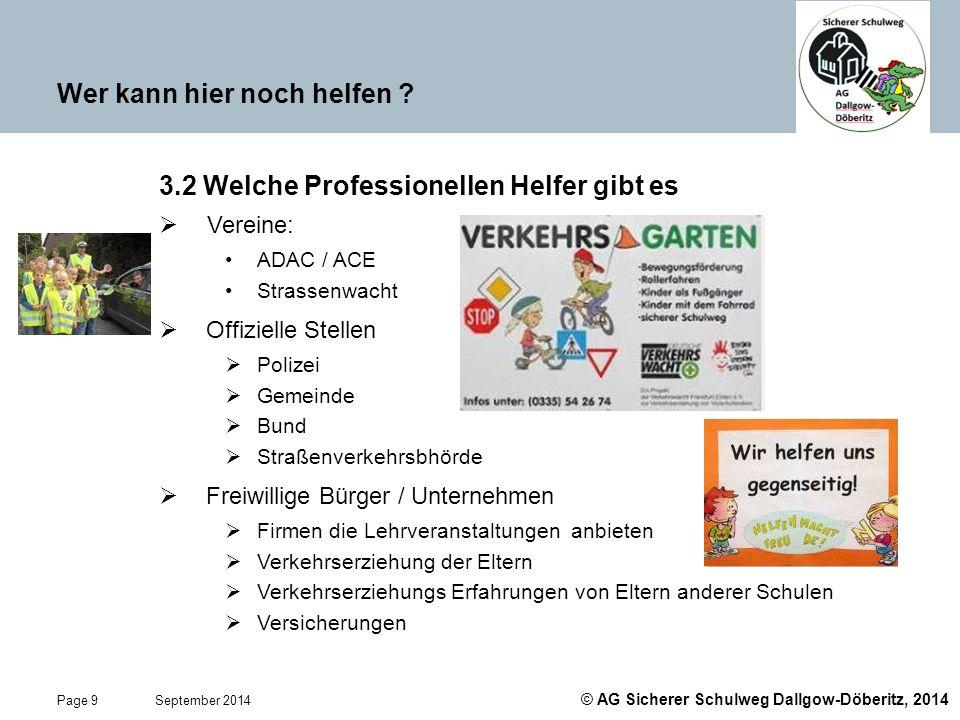 © AG Sicherer Schulweg Dallgow-Döberitz, 2014 Page 9 September 2014 Wer kann hier noch helfen ? 3.2 Welche Professionellen Helfer gibt es  Vereine: A