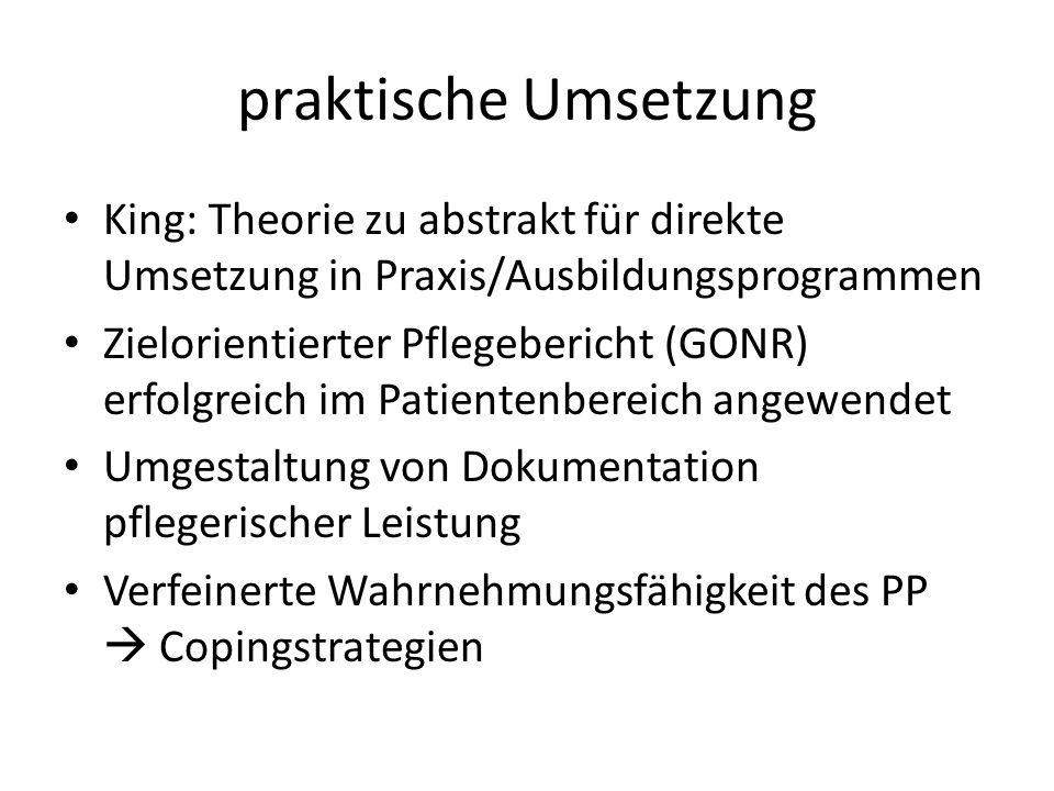 praktische Umsetzung King: Theorie zu abstrakt für direkte Umsetzung in Praxis/Ausbildungsprogrammen Zielorientierter Pflegebericht (GONR) erfolgreich