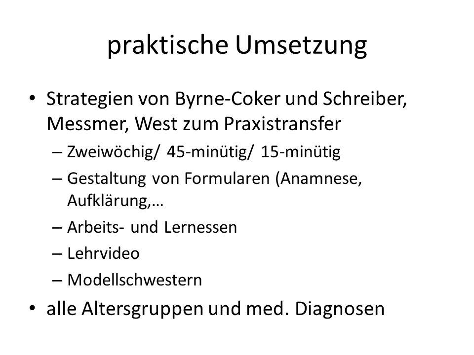 praktische Umsetzung Strategien von Byrne-Coker und Schreiber, Messmer, West zum Praxistransfer – Zweiwöchig/ 45-minütig/ 15-minütig – Gestaltung von