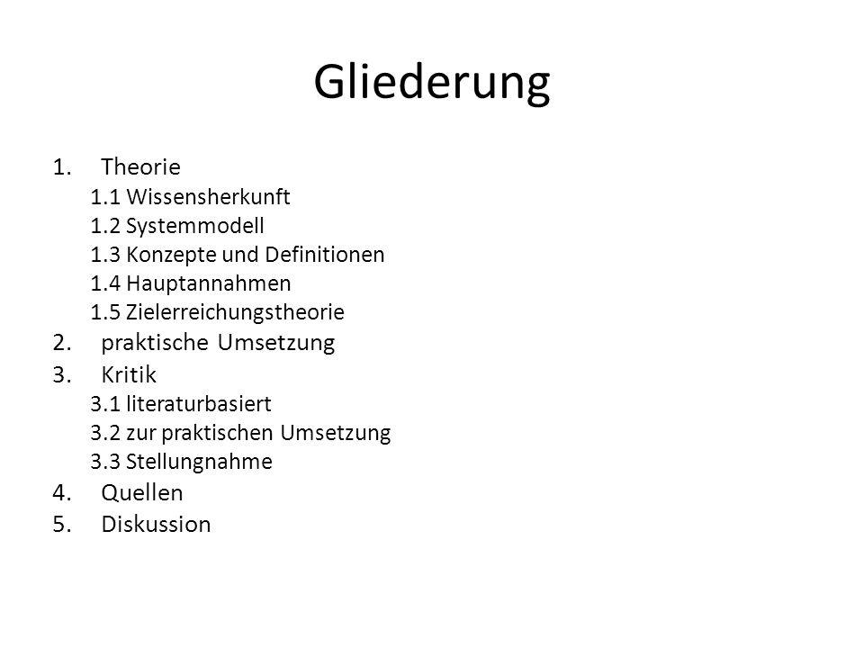 Gliederung 1.Theorie 1.1 Wissensherkunft 1.2 Systemmodell 1.3 Konzepte und Definitionen 1.4 Hauptannahmen 1.5 Zielerreichungstheorie 2.praktische Umse