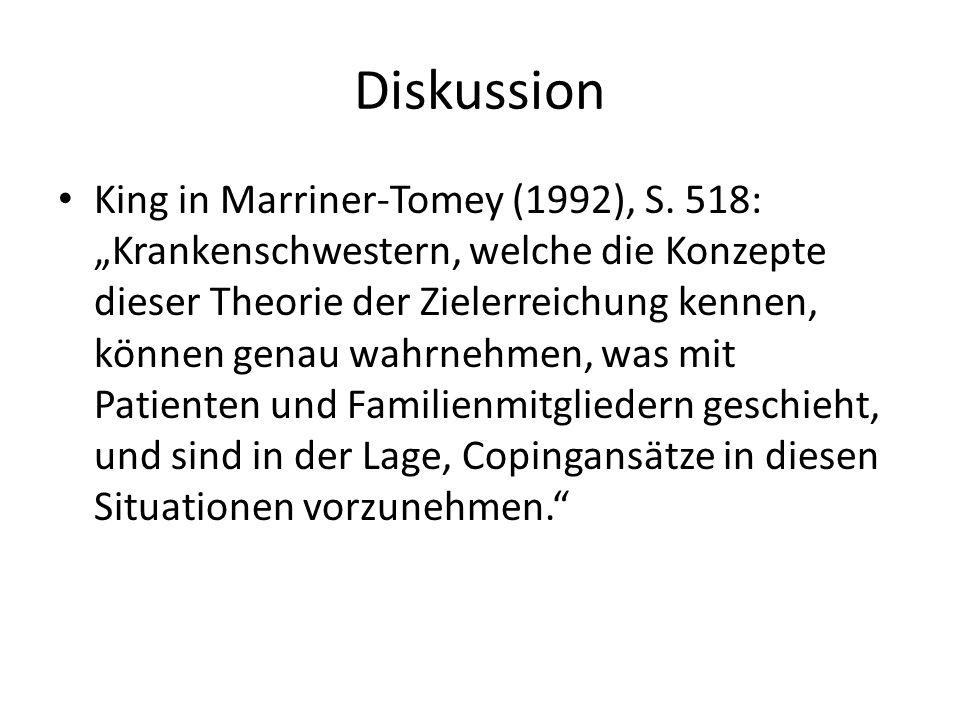 """Diskussion King in Marriner-Tomey (1992), S. 518: """"Krankenschwestern, welche die Konzepte dieser Theorie der Zielerreichung kennen, können genau wahrn"""