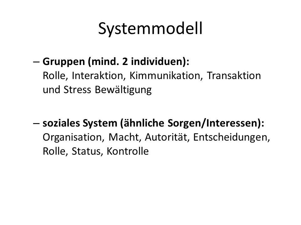Systemmodell – Gruppen (mind. 2 individuen): Rolle, Interaktion, Kimmunikation, Transaktion und Stress Bewältigung – soziales System (ähnliche Sorgen/