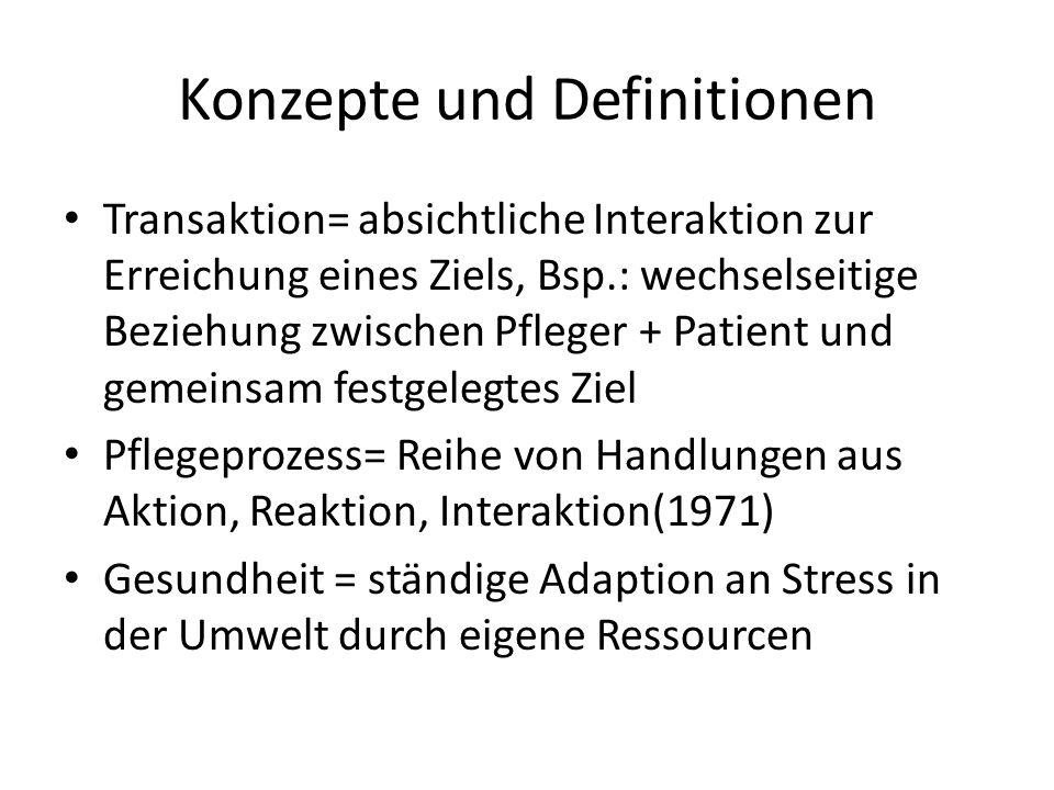 Konzepte und Definitionen Transaktion= absichtliche Interaktion zur Erreichung eines Ziels, Bsp.: wechselseitige Beziehung zwischen Pfleger + Patient