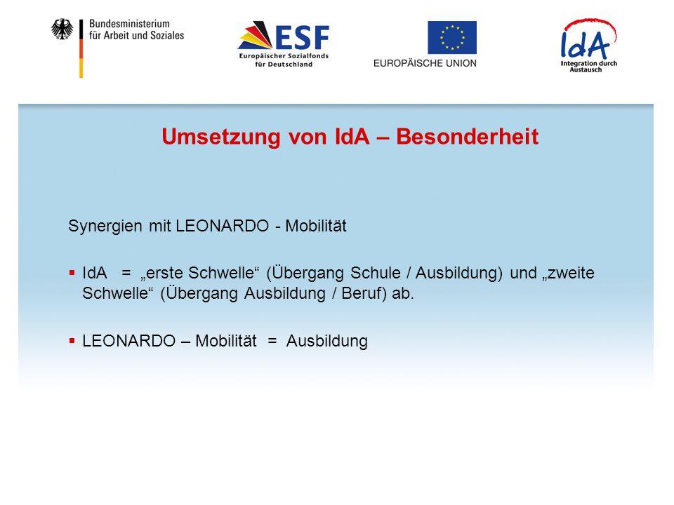 """Umsetzung von IdA – Besonderheit Synergien mit LEONARDO - Mobilität  IdA = """"erste Schwelle"""" (Übergang Schule / Ausbildung) und """"zweite Schwelle"""" (Übe"""