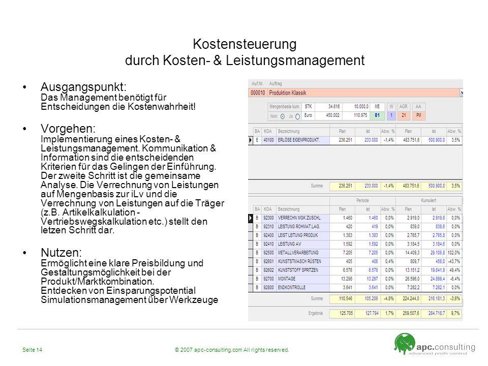 © 2007 apc-consulting.com All rights reserved.Seite 14 Kostensteuerung durch Kosten- & Leistungsmanagement Ausgangspunkt: Das Management benötigt für